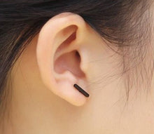 black t bar stud earrings