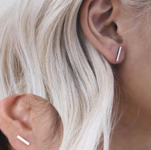 silver t bar stud earrings