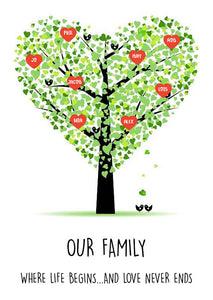 Framed Personalised Family Tree Print