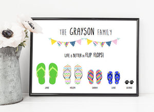 d5111a1fcb9d58 Framed Personalised Family Flip Flop Print – Mermaid Mary s