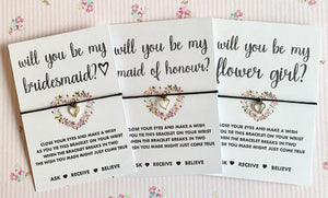 Will you be my Maid of Honour Wish Bracelet