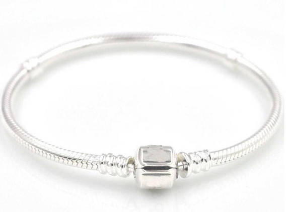 Silver 'Pandora' style bracelet with a choice of 1 charm
