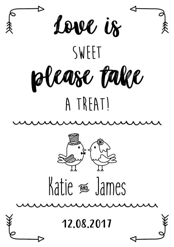 Love is sweet please take a treat wedding sign print
