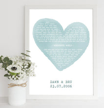 Framed Personalised Song Lyrics Print in Colour
