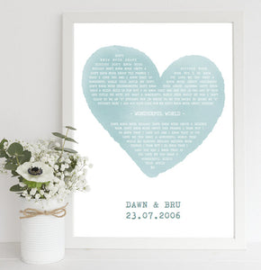 Personalised Song Lyrics Print in Colour