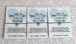 thank you for being my bridesmaid wish bracelet gift