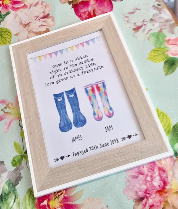 wellies engagement print