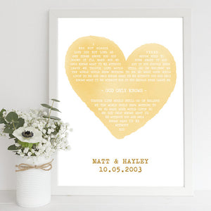 framed song words print