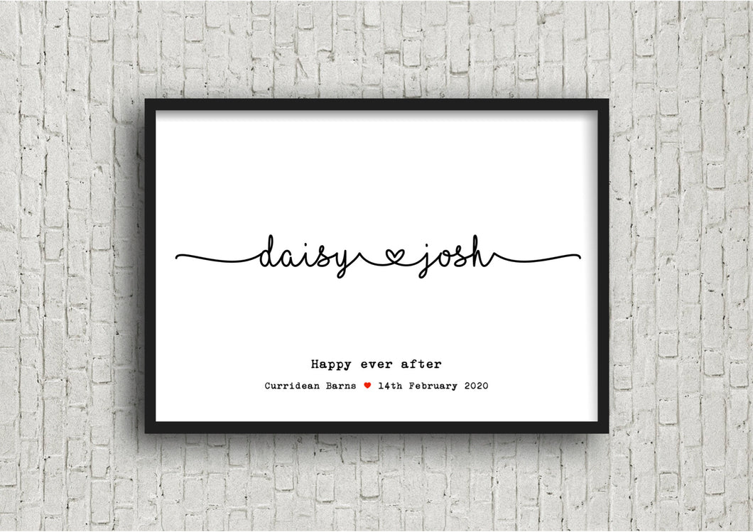 personalised names wedding print