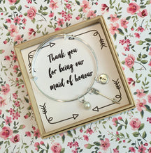Thank you for being our Maid of Honour charm bangle complete with gift box & personalised sleeve