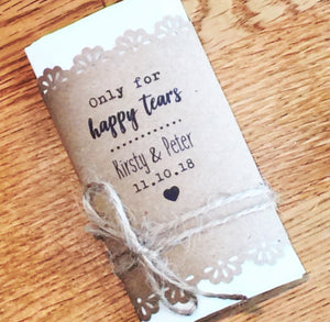 personalised wedding tissues