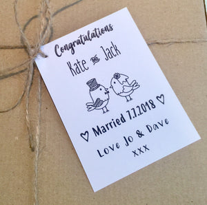 personalised tag for wedding gift box