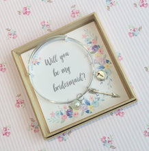 Will you be my Bridesmaid charm bangle complete with gift box & personalised sleeve