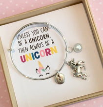 personalised unicorn charm bangle