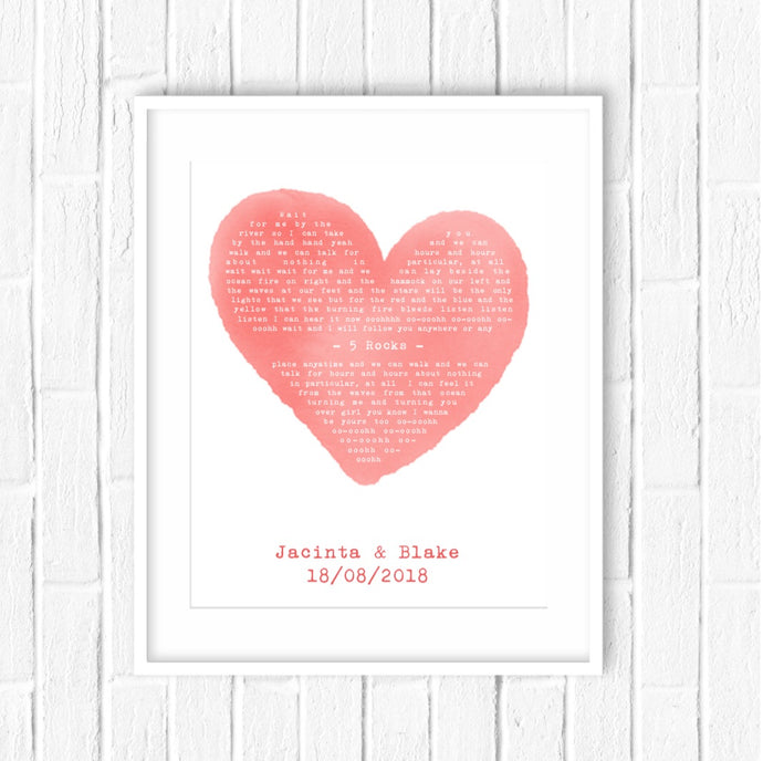 heart shaped lyrics print