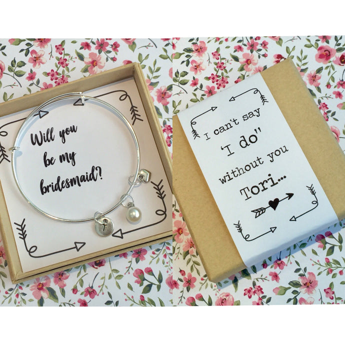 will you be my bridesmaid bangle with personalised gift box