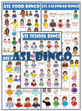 ASL Bingo Cards Bundle (calendar, food, colors, school, weather)