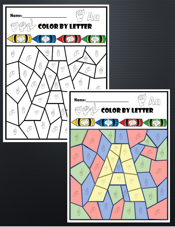 ASL Color By Letter A Thru Z