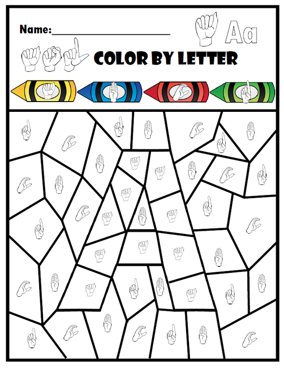 ASL Color By Letter-Freebie