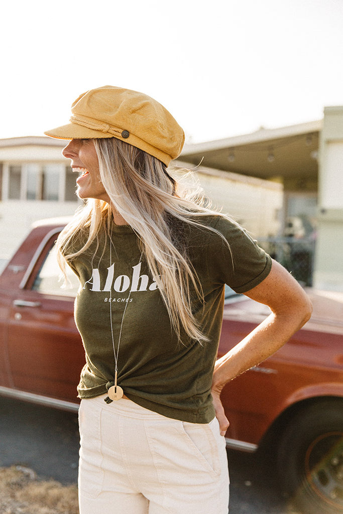 Aloha Beaches - Baby Ringer Tee - Army Green