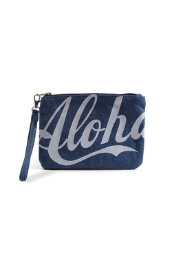 Aloha / Stripe - Small Clutch - Light Wash Denim