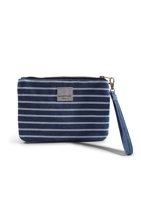 "Cameron Hawaii - Denim Small Clutch ""Aloha / Stripe"" - Light"