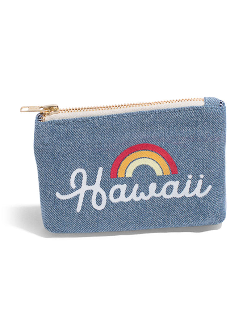 Bows For Hawaii - Large Clutch- Light Wash Denim