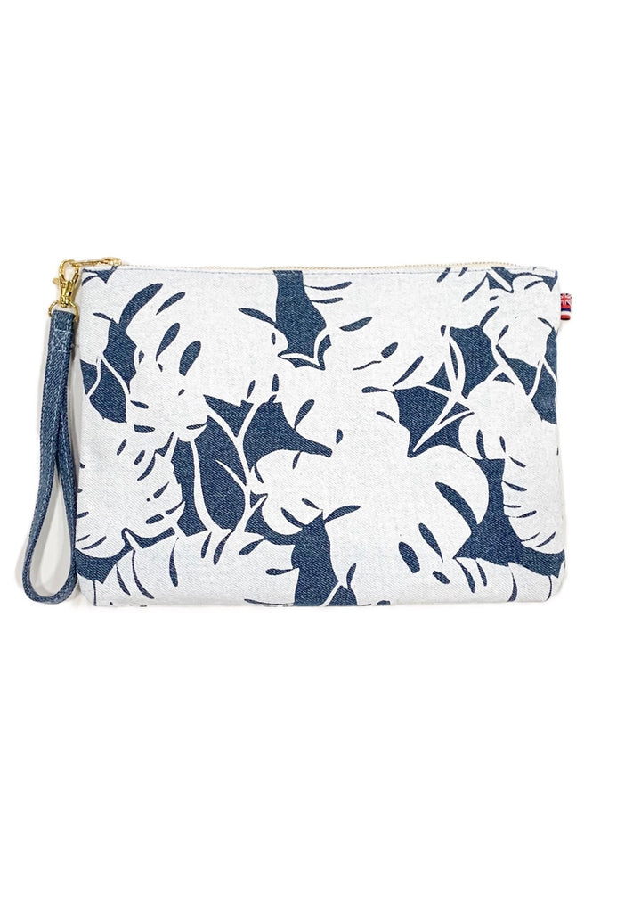 Monstera - Large Clutch - Light Wash Denim