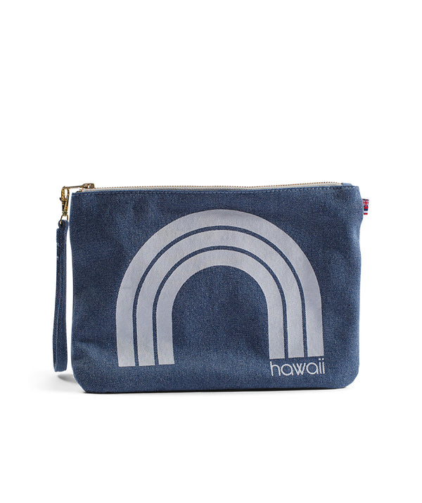 Kawaii Hawaii - Large Clutch- Light Wash Denim