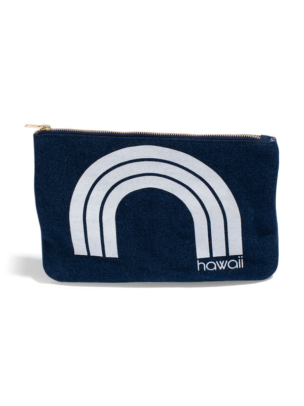 Kawaii Hawaii - Large Clutch- Dark Wash Denim