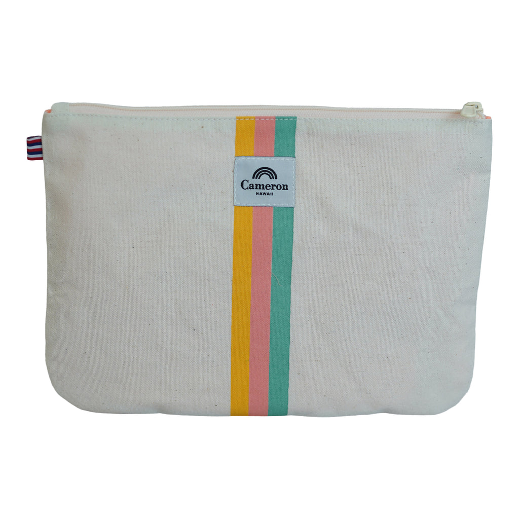 Stacked / 3 Color Stripe - Large Clutch - Breeze