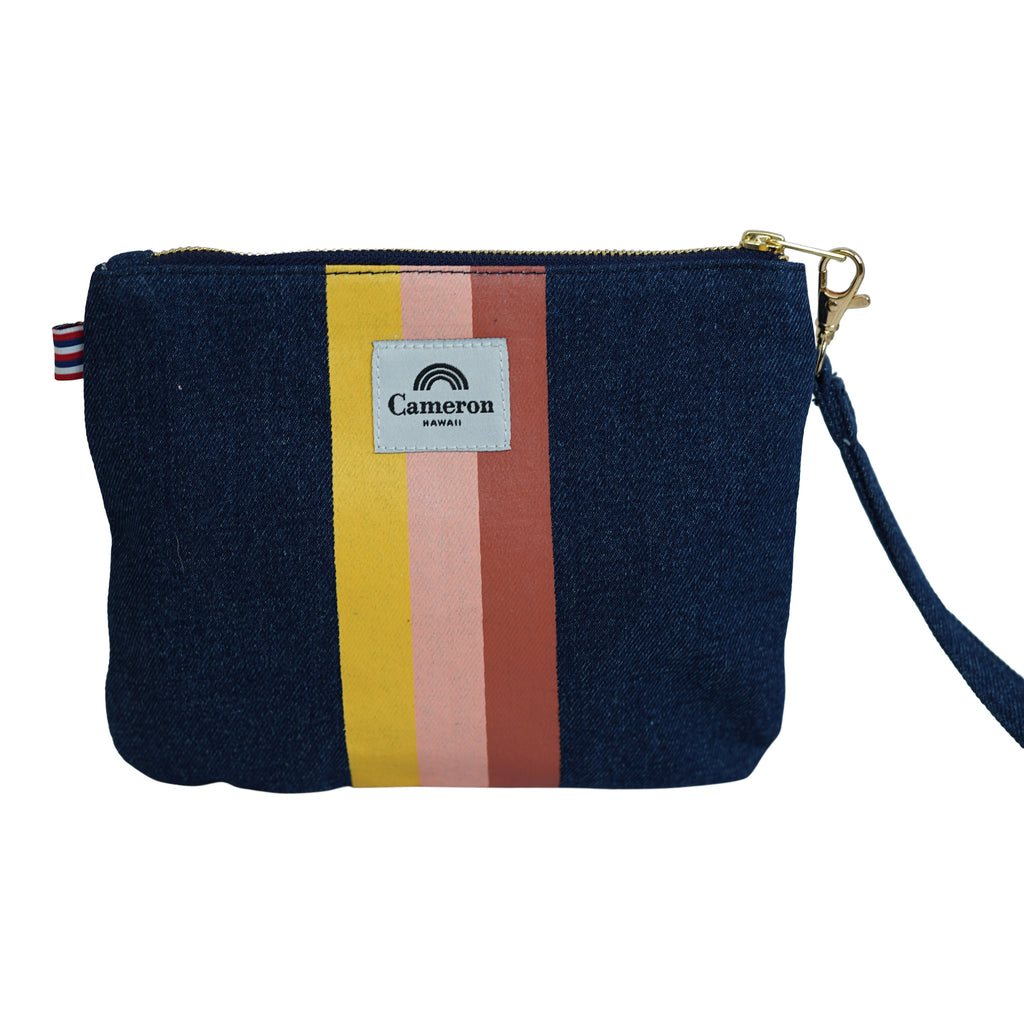 3 Color Stripe - Small Clutch - Dark Wash / Tulip