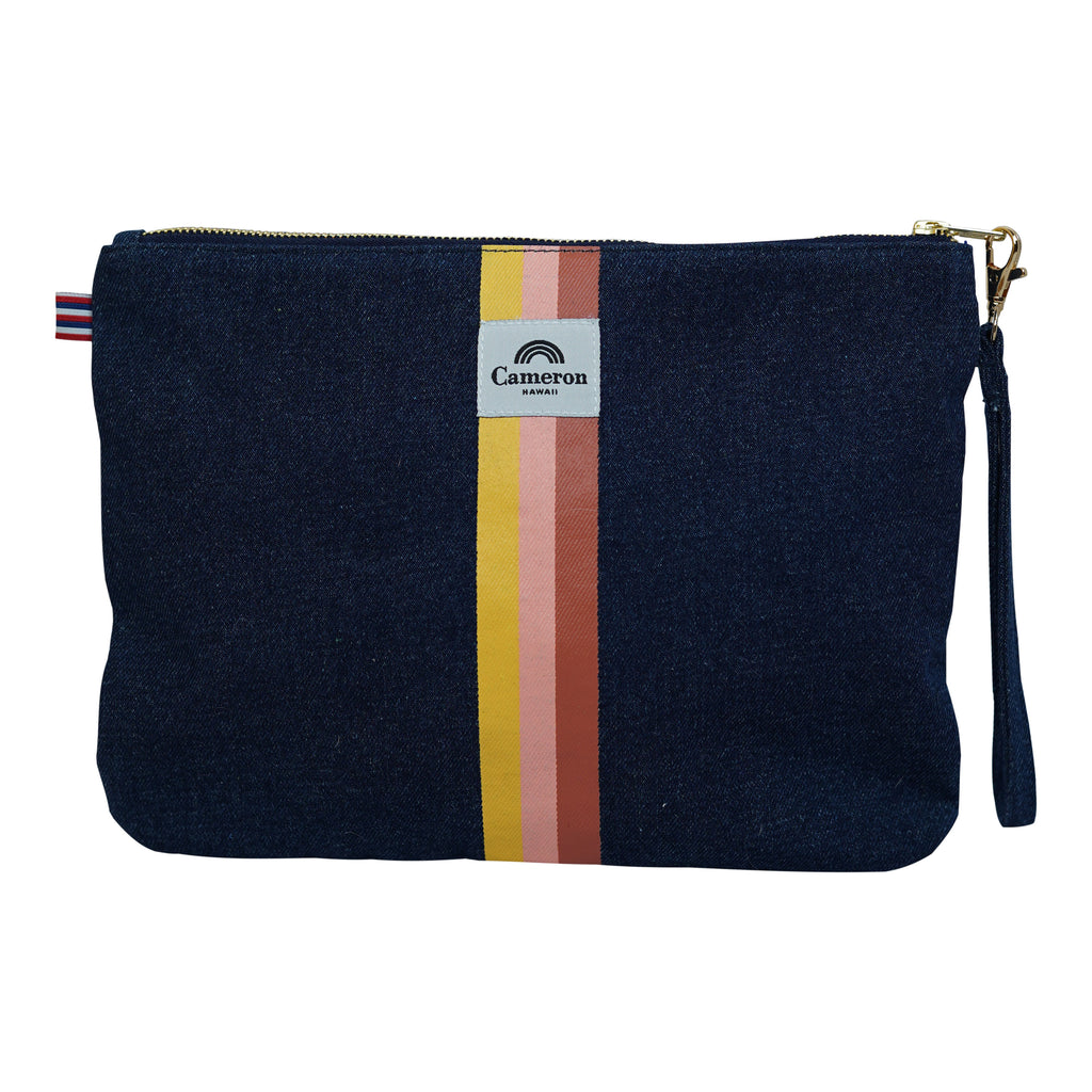 Stacked / 3 Color Stripe - Large Clutch - Dark Wash / Tulip