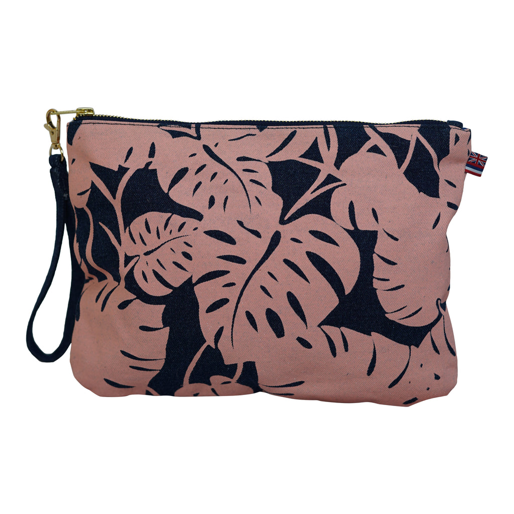 Monstera - Large Clutch - Dark Wash / Grapefruit