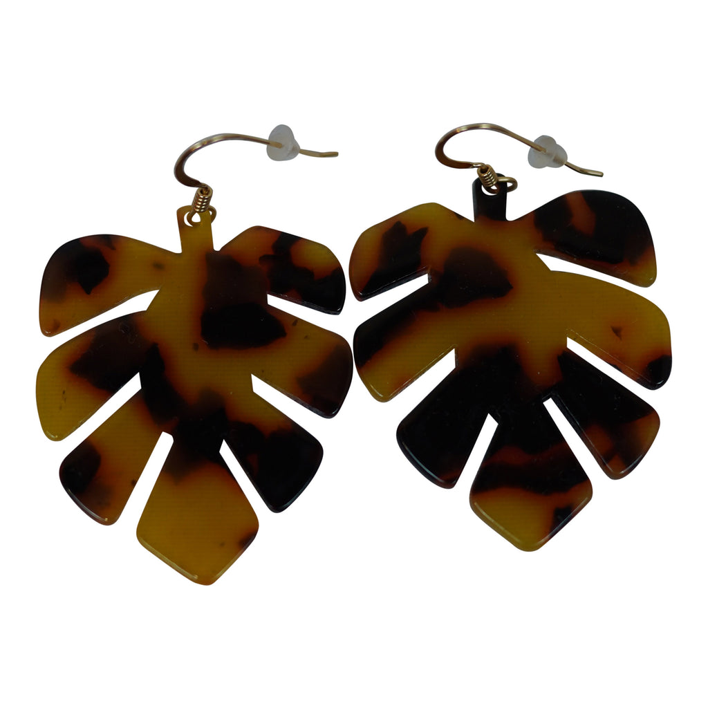 Reverie by Alyssa Wooten - Monstera Tortoise Earring - Dark Brown