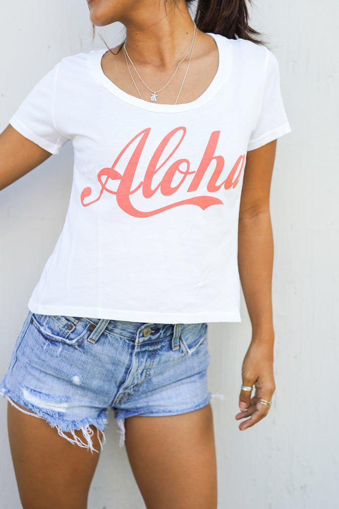 Aloha- Crop Tee- White/Grapefruit