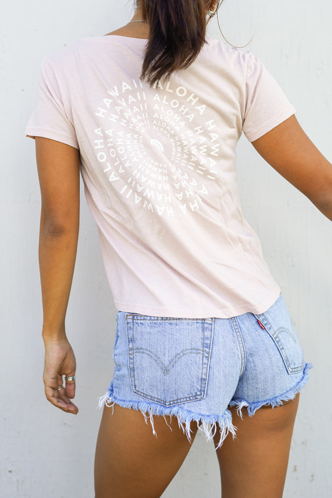 Sunrise Mandala-Crop Tee-Dusty Pink