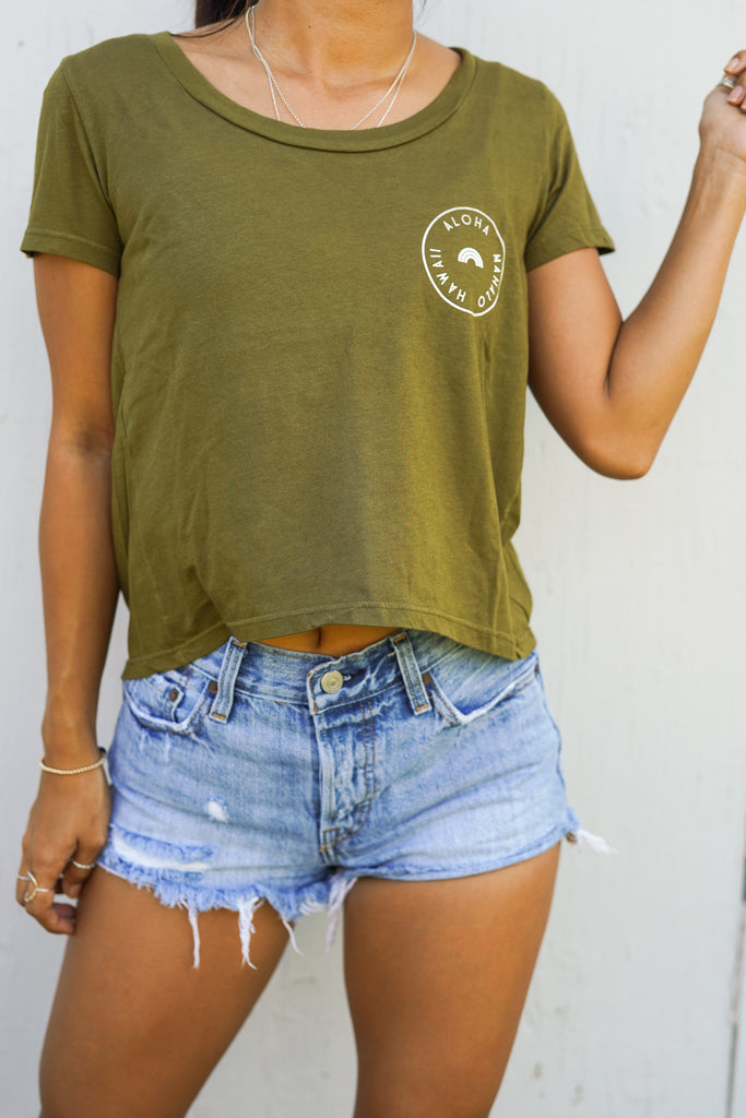 Stamped- Crop Tee-Army