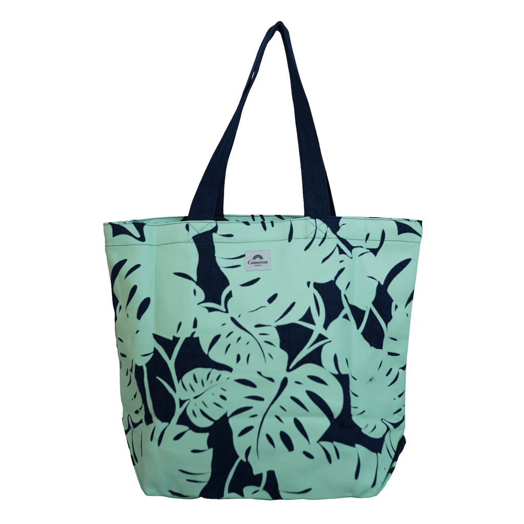 Monstera - Beach Bag - Dark Wash / Mint