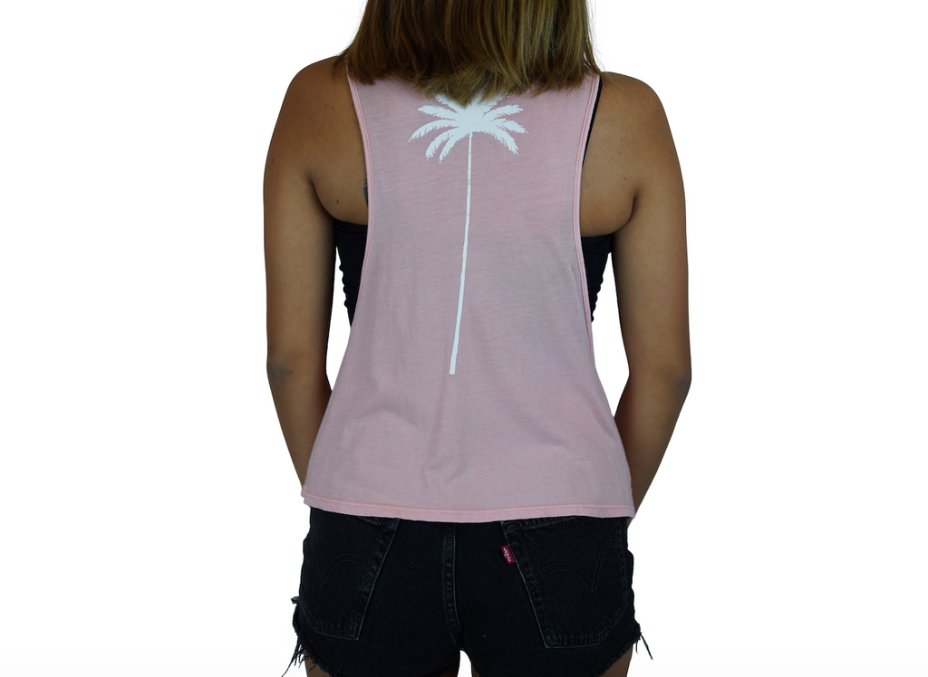 Aloha / Palm - Muscle Tee - Faded Pink
