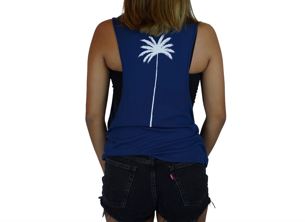 Aloha / Palm - Muscle Tee - Flag Blue