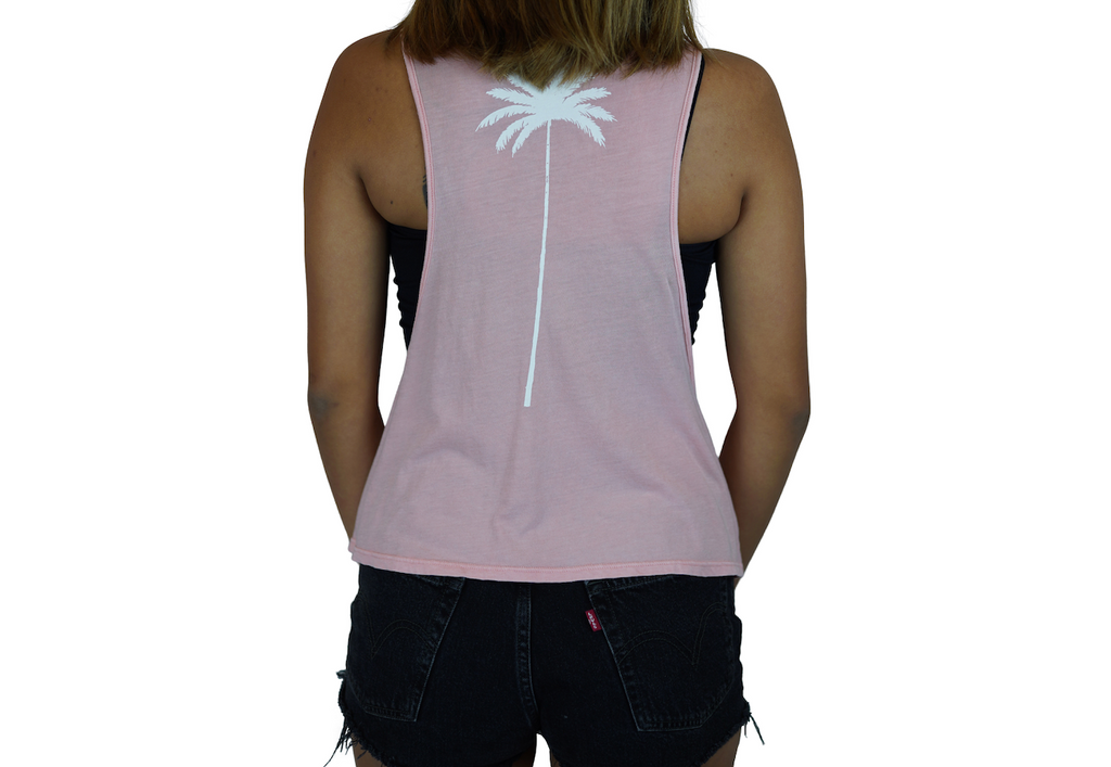 Aloha Beaches / Palm - Muscle Tee - Faded Pink