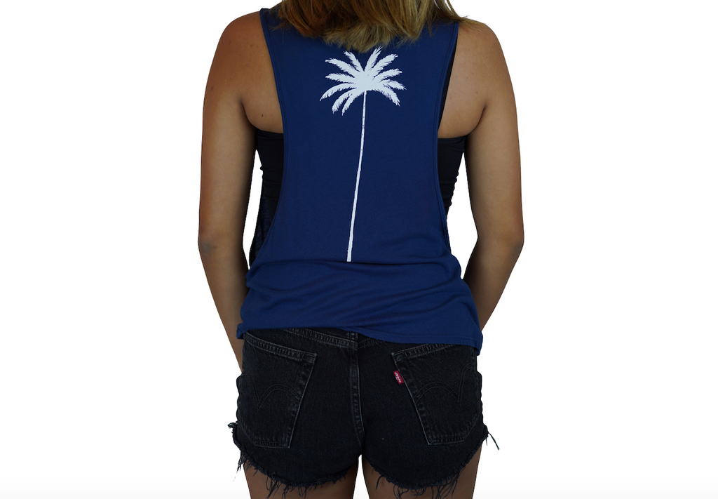 Aloha Beaches / Palm - Muscle Tee - Flag Blue