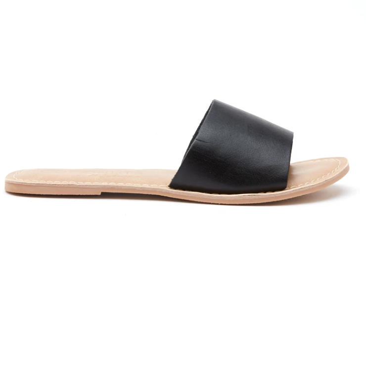 Matisse Black Leather Cabana Sandals