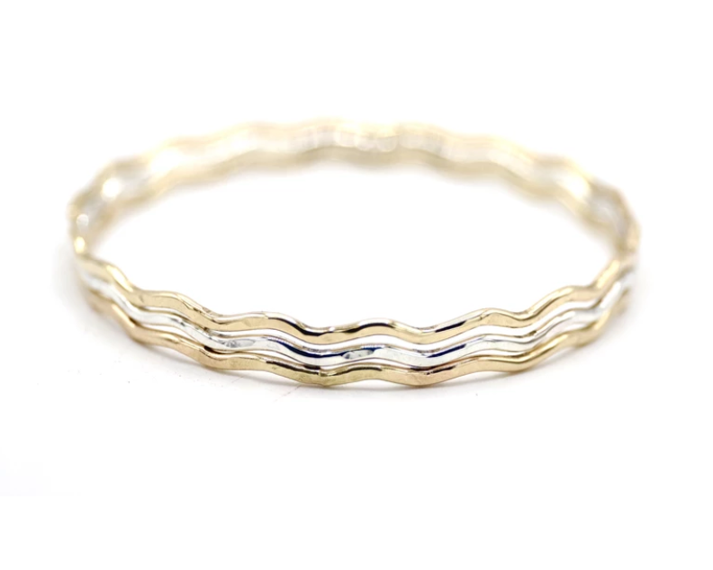 Kolohe Ocean Gems Sterling Silver Wavy Bangle