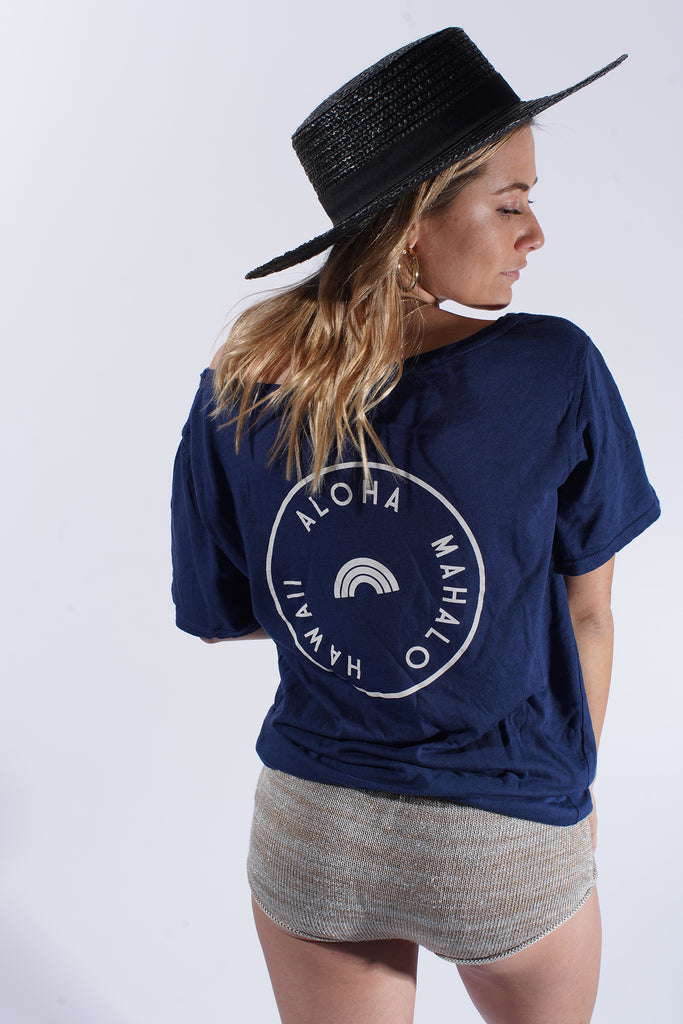 Tiny Rainbow Stamped - Flashdance Tee - Navy