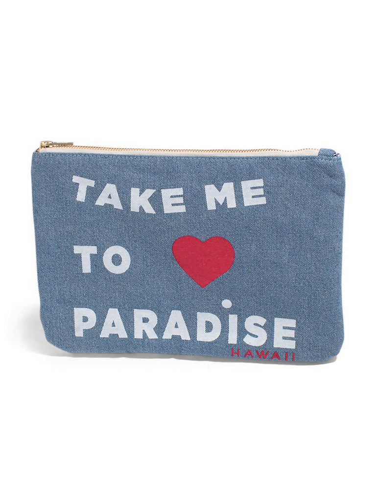 Take Me To Paradise - Large Clutch - Light Wash Denim