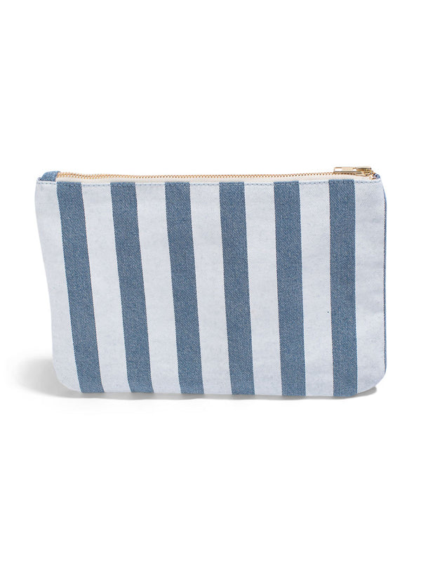 Take Me To Paradise - Large Clutch- Light Wash Denim