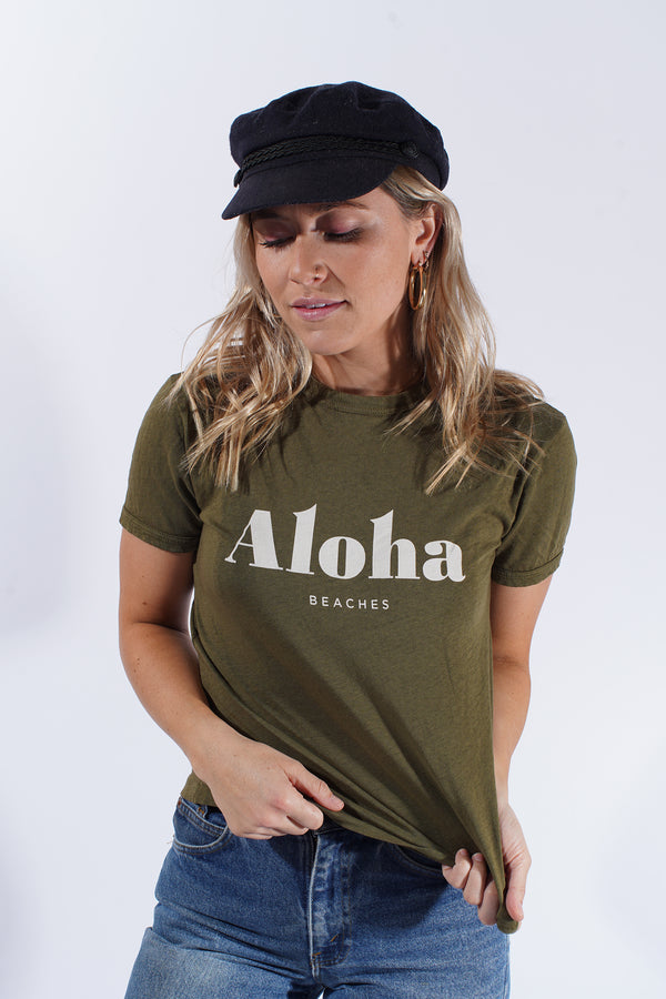 Aloha Beaches Army Green-Ringer Tee
