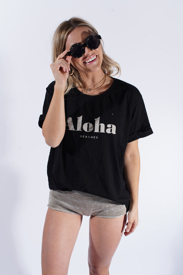 Aloha Beaches Black-Boyfriend Tee